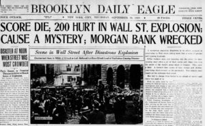 Newspapers the day after the wall street bombing, 1920