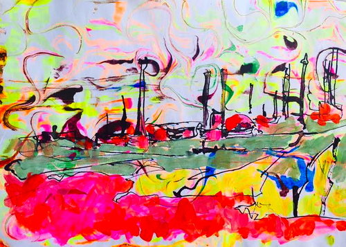 Milford Haven Oil Refinery. Gouache, Pen and Ink drawing. By Eloise Govier