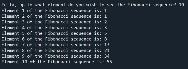Output for the Fibonnaci Sequence