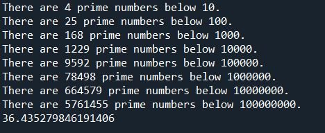 prime number calculation result